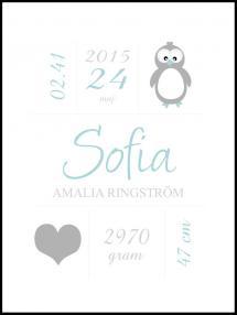 Personlig poster Penguin Birth Poster Green