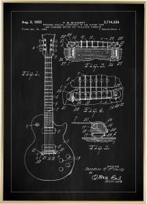Lagervaror egen produktion Patentzeichnung - E-Gitarre I - Schwarz Poster