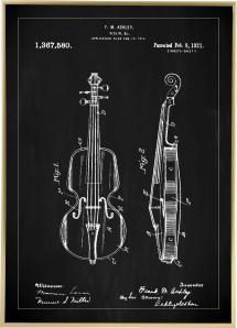 Bildverkstad Patentzeichnung - Geige - Schwarz Poster