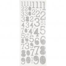 Focus Focus Glitter Stickers Silber Numbers