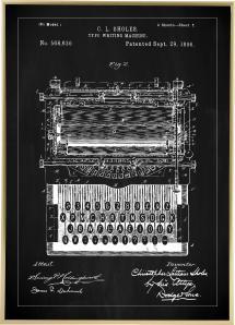 Bildverkstad Patentzeichnung - Schreibmaschine - Schwarz Poster