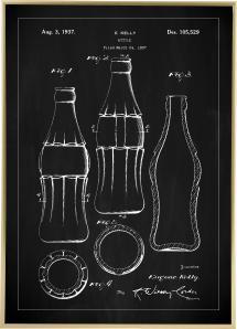 Bildverkstad Patentzeichnung - Coca-Cola-Flasche - Schwarz