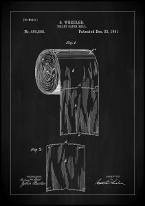 Lagervaror egen produktion Patent Print - Toilet Paper Roll - Black Poster