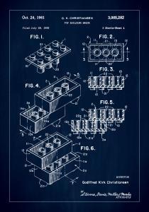 Lagervaror egen produktion Patent Print - Lego Block I - Blue Poster