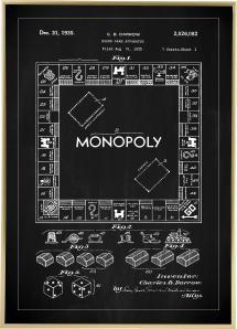 Bildverkstad Patentzeichnung - Monopoly I - Schwarz Poster