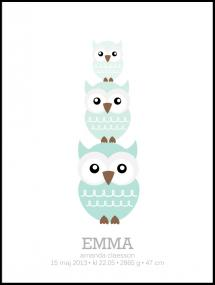 Personlig poster Owls Birth Poster II Green