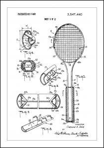 Bildverkstad Patent Print - Tennis Racket - White Poster
