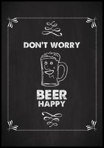 Bildverkstad Don´t worry beer happy Poster