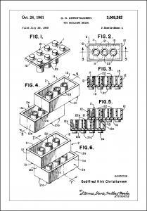 Lagervaror egen produktion Patent Print - Lego Block I - White Poster