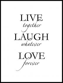 Bildverkstad Live, laugh, love - Black
