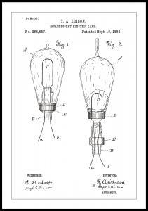 Bildverkstad Patentzeichnung - Glühbirne A - Weiß Poster