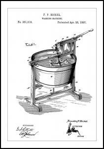 Bildverkstad Patent Print - Washing Machine - White Poster