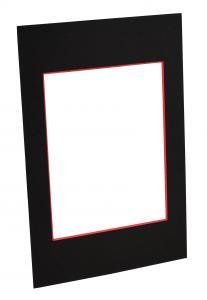 Passepartouter Måttbeställda Passepartout Schwarz (roter Kern) - Maßgefertigt