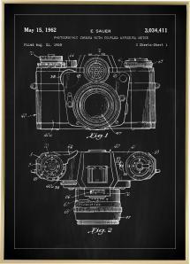 Lagervaror egen produktion Patentzeichnung - Kamera I - Schwarz Poster