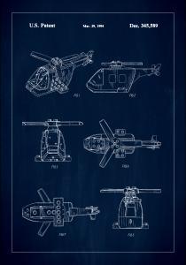 Bildverkstad Patent Print - Lego Helicopter - Blue