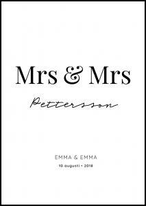 Personlig poster Mrs Mrs - White