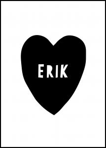 Personlig poster Heart Name - Black