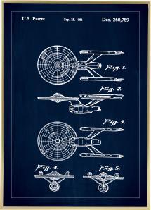 Bildverkstad Patentzeichnung - Star Trek - USS Enterprise - Blau Poster