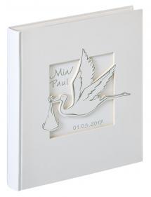 Walther Cicogna Babyalbum Weiß - 28x30,5 cm (50 weiße Seiten / 25 Blatt)