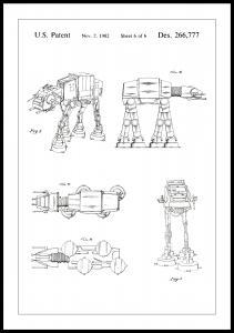 Lagervaror egen produktion Patentzeichnung - Star Wars - Walker - Weiß Poster