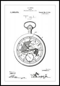 Bildverkstad Patentzeichnung - Taschenuhr - Weiß Poster