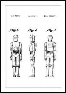 Lagervaror egen produktion Patentzeichnung - Star Wars - C-3PO Poster