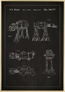Lagervaror egen produktion Patentzeichnung - Star Wars - Walker - Schwarz Poster