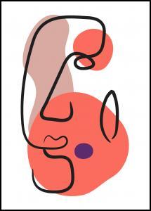 Bildverkstad Abstract Face - Red III Poster