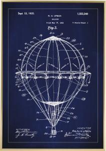 Lagervaror egen produktion Patentzeichnung - Heißluftballon - Blau
