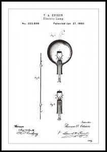 Bildverkstad Patentzeichnung - Glühbirne B - Weiß