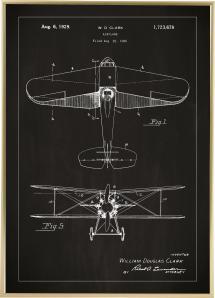 Lagervaror egen produktion Patentzeichnung - Flugzeug - Schwarz
