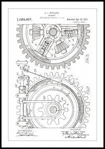 Bildverkstad Patentzeichnung - Zahnrad - Weiß Poster