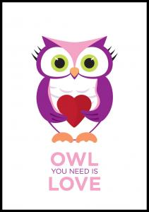 Bildverkstad Owl You need is love - Pink-Purple