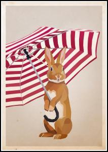 Bildverkstad Rabbit with Umbrella