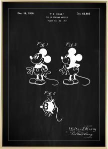 Bildverkstad Patentzeichnung - Disney - Micky Maus - Schwarz