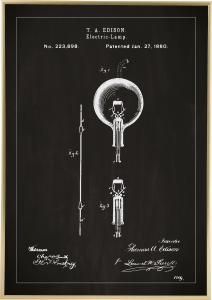 Bildverkstad Patentzeichnung - Glühbirne B - Schwarz Poster