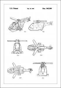 Bildverkstad Patent Print - Lego Helicopter - White