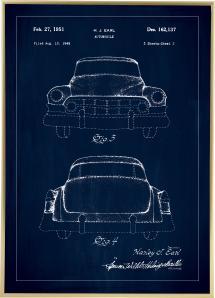 Bildverkstad Patentzeichnung - Cadillac II - Blau Poster
