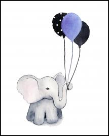 Bildverkstad Elephant With Balloons