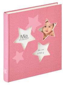 Walther Estrella Babyalbum Rosa - 28x30,5 cm (50 weiße Seiten / 25 Blatt)