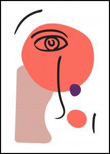 Bildverkstad Abstract Face - Red I Poster