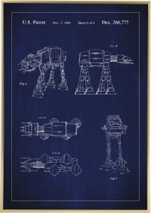 Lagervaror egen produktion Patentzeichnung - Star Wars - Walker - Blau Poster